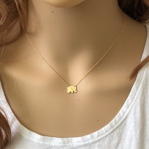 14K Solid Gold Mini Baby Elephant Dainty Necklace